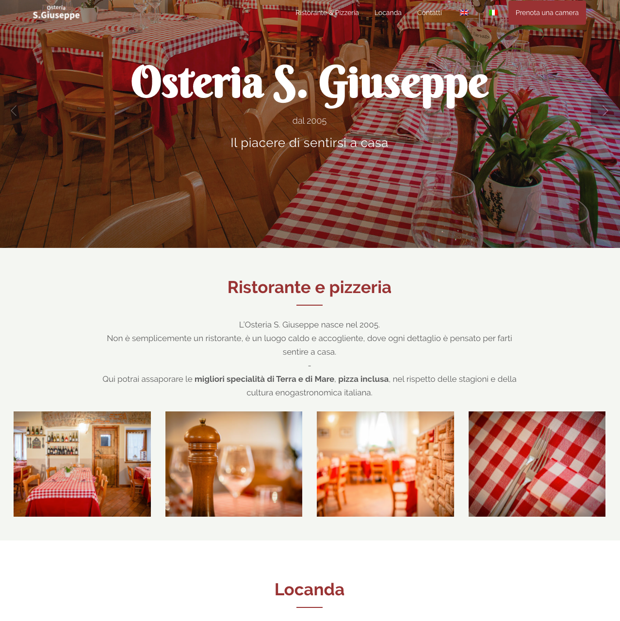 Web writing: homepage dell'Osteria S.Giuseppe.