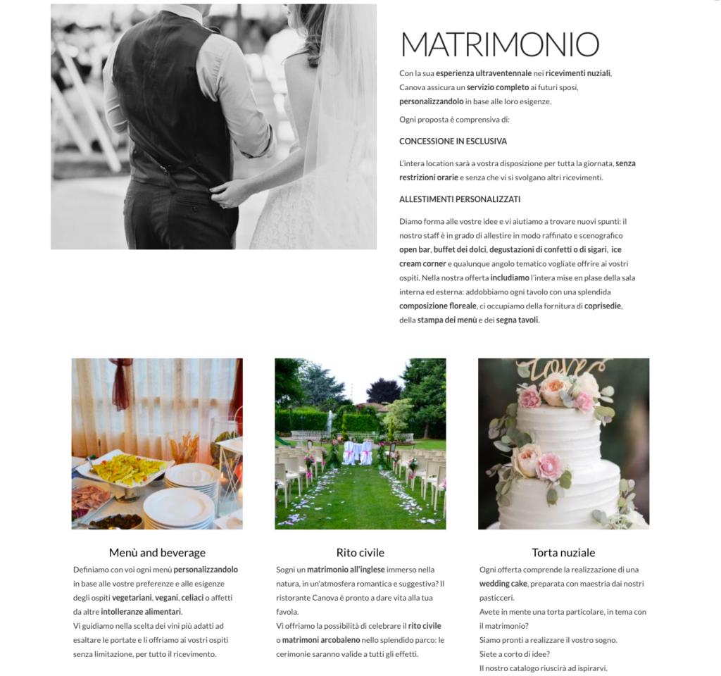 Portfolio copywriter: pagina dedicata ai ricevimenti di nozze, scritta per il ristorante Canova.