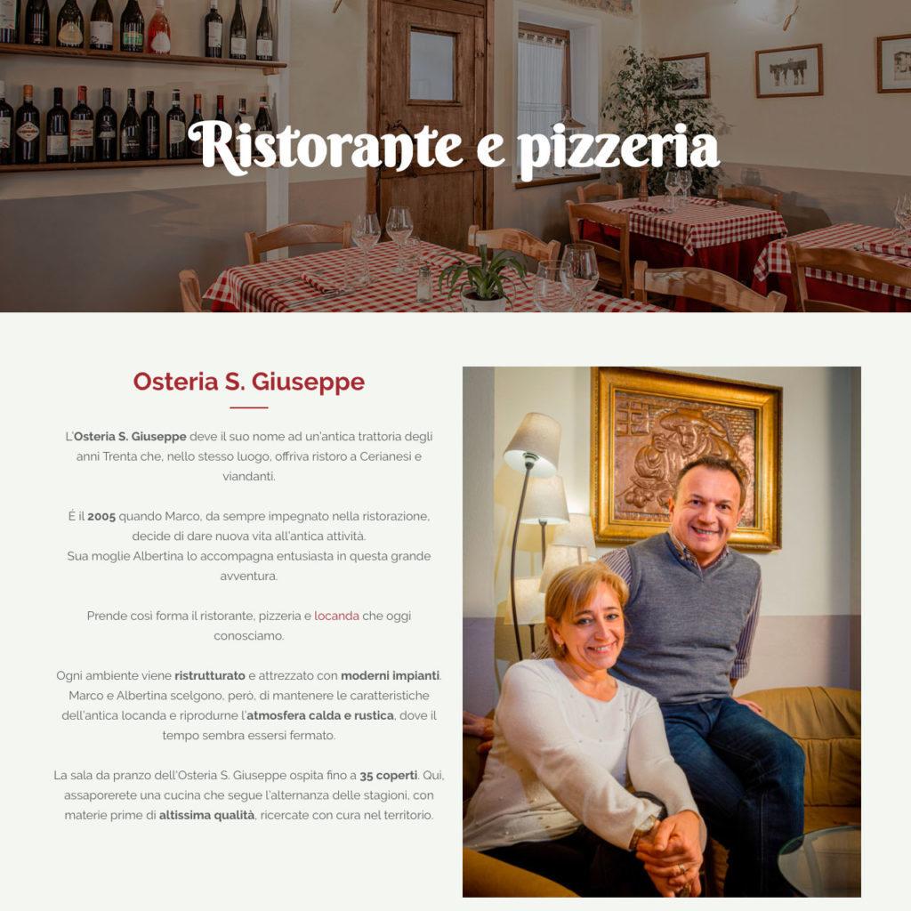 Lavoro di web writing svolto per Osteria S.Giuseppe: la storia del ristorante.