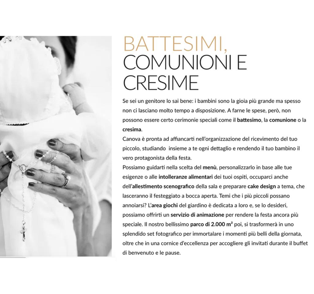 Portfolio copywriter: pagina dedicata ai ricevimenti per battesimi, cresime e comunioni, presso il ristorante Canova.