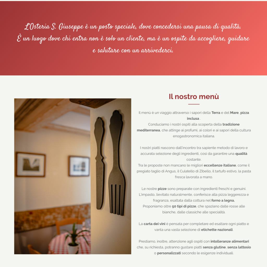 Osteria S. Giuseppe: illustrazione della filosofia del ristorante e del menù.