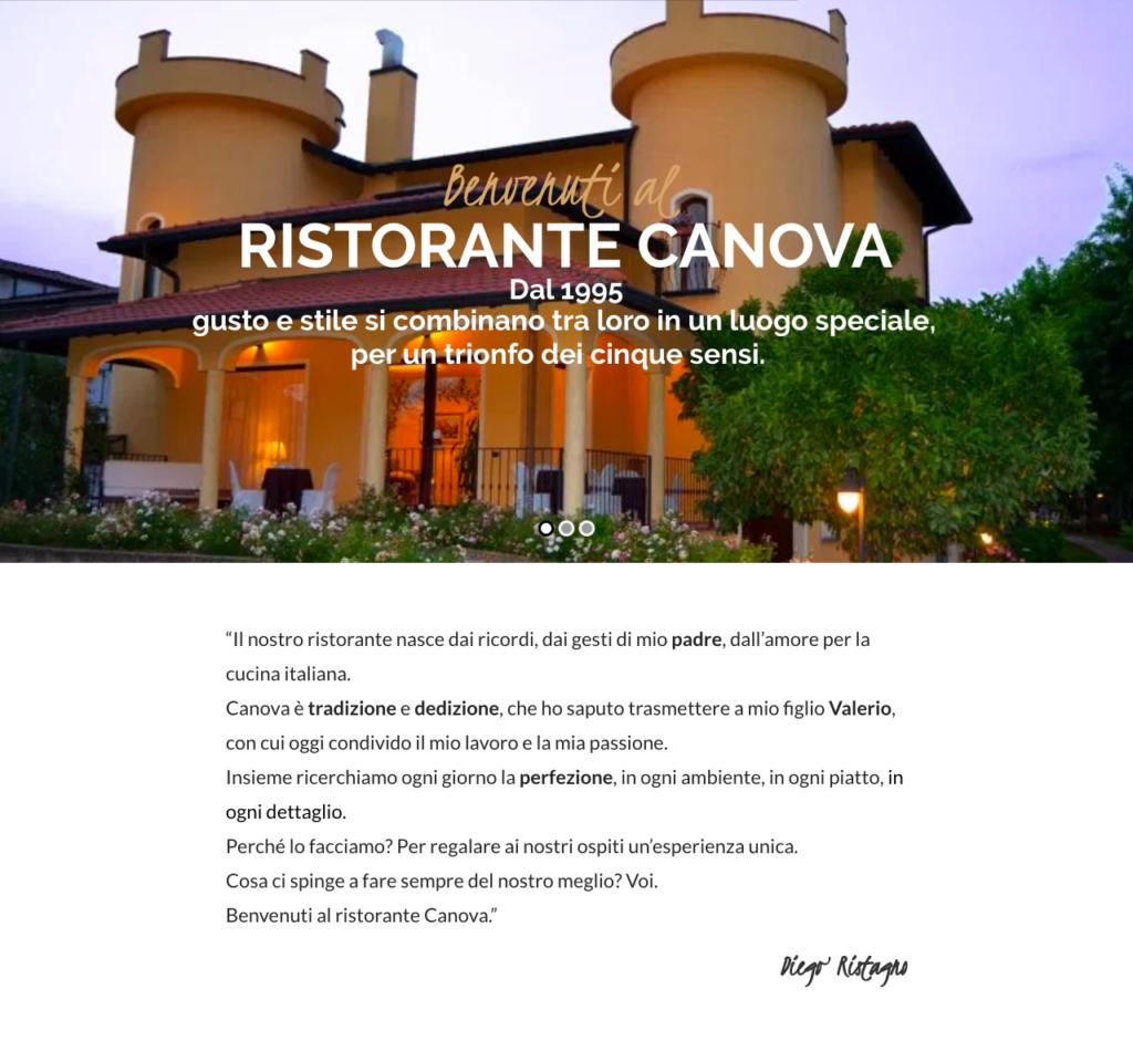 Web writing: homepage del ristorante Canova.