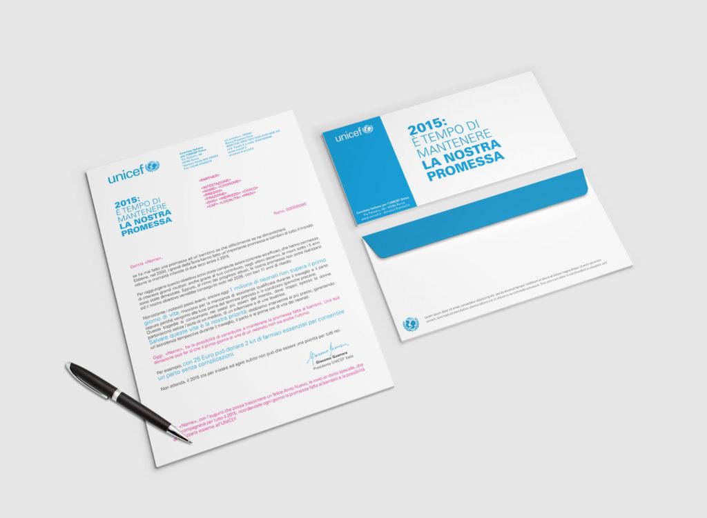 Lavoro di copywriting svolto per Unicef: direct mailing sulla mortalità infantile