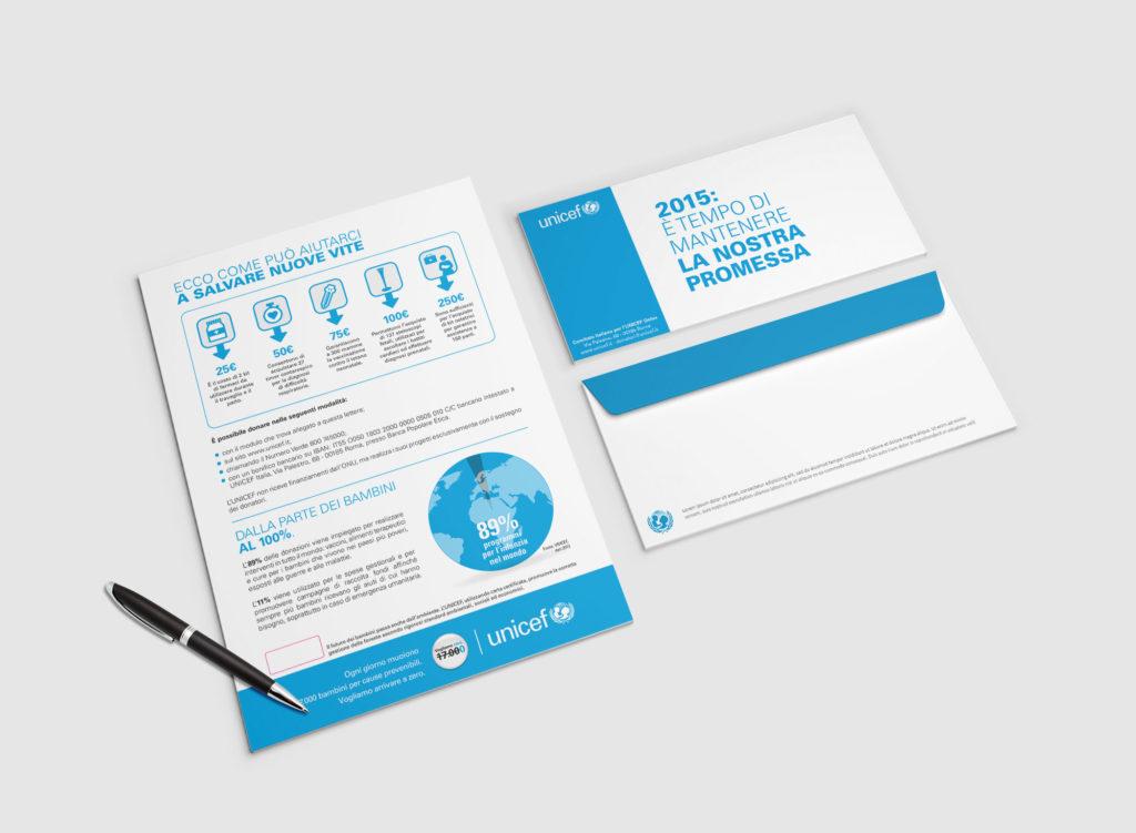 Direct mailing per Unicef sul tema della mortalità infantile.